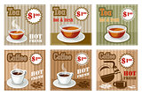 Set of coffee and tea menu card