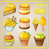 Set of sweets with lemon