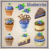 Set of sweets with blueberries.