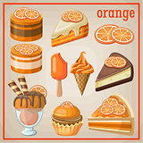 Set of sweets with an orange