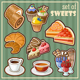 Image of set of vintage icons of different sweets