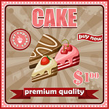 Picture of a vintage poster with a cake.