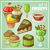 set of sweets and cakes,
