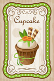 Picture of a vintage poster with a cupcake.