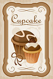 Picture of a vintage poster with a cupcake