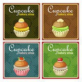 Set of four vintage posters cupcake