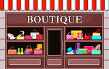 Picture of a fashion boutique with shoes and bags