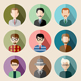 Set of circle flat icons with man