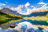 Mountain range and water reflection, Emerald lake, Rocky mountai