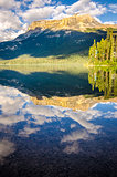 Mountain range and water reflection, Emerald lake, Canada