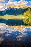 Mountain range and water reflection, Emerald lake, Canada
