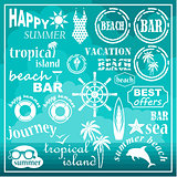 Image of a set of icons for a beach