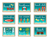 Beach set icons