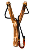 Handmade Wooden Slingshot on White
