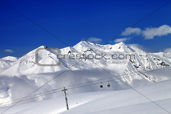 Ski resort at nice sun day