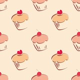Seamless vector pattern or tile texture with little cupcakes, muffins, sweet cake cherry and red heart on top.