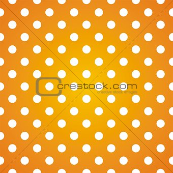 Tile vector pattern with white polka dots on gradient yellow background