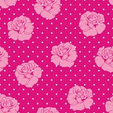 Seamless vector floral pattern with roses on pink background with white polka dots.