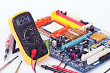 Digital Multimeter and motherboard