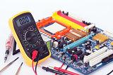 Digital Multimeter and motherboard