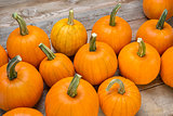 pumpkins on a rustic wood