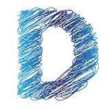 sketched letter D