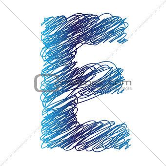 sketched letter E
