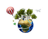 Earth with house. Isolated on white background