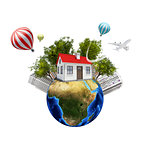 Earth with buildings. Isolated on white background