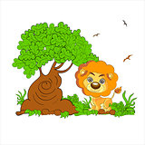Illustration of a scary lion the forest