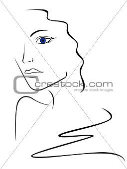 Sketch contour of woman head