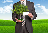 Businessman hold empty card and tree