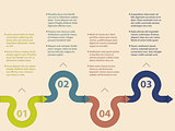 Infographic design with waving arrows
