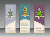 Christmas label set with ripped paper christmastrees