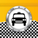 Taxi background with ripped paper and metallic icon
