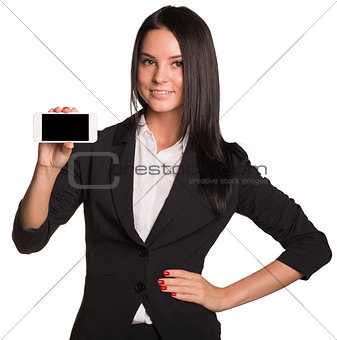Beautiful women in suit showing smart phone
