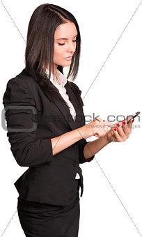Beautiful businesswomen in suit using smart phone