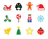 Colorful Christmas icons set