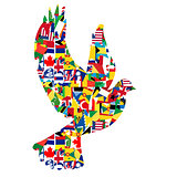 Peace concept with dove made of World flags