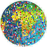 Peace concept with Earth Globe and people patterned in flags