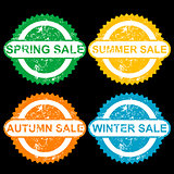 Rubber stamps with texr spring sale, sumer sale, autumn sale and