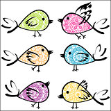 Set of colorful patterned birds