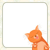 Cute romantic card with tender cat who kisses you