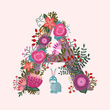 Cute letter A. Floral monogram A with vintage flowers and rabbit