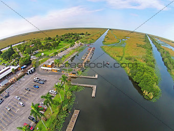 Aerial view of airbot park in the Florida Everglades