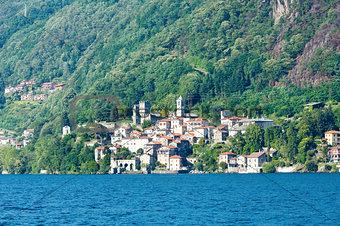 Town on Lake Como summer coast (Italy).
