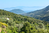 Lefkada coast summer misty landscape (Greece)