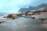 Summer Senja coast (Jagged Ersfjord, Norway, polar )