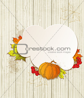 Background with pumpkin and leaves