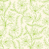 Seamless pattern with green plants